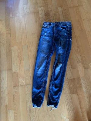 Dunkelblaue super high waist Jeans