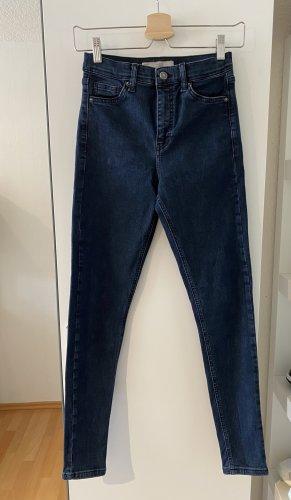 Topshop Jeans a vita alta blu scuro