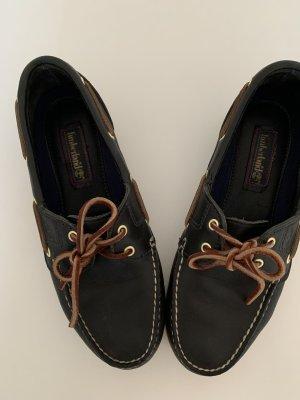 Timberland Zapatos de marinero azul oscuro-blanco Cuero