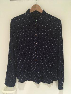 Dunkelblaue Viskose-Bluse mit Ankern von Zara Woman in Größe 40 (L)