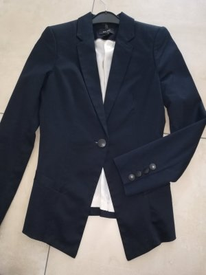 Mango Long Blazer dark blue cotton