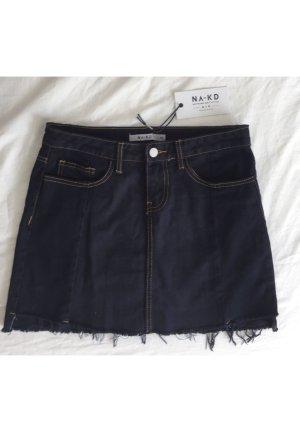 Nakd Denim Skirt dark blue-gold orange cotton