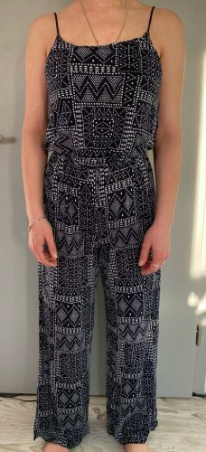 H&M Jumpsuit white-dark blue