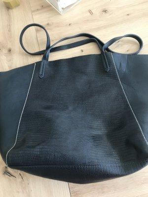 Zara Shopper donkerblauw Leer