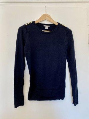 dunkelblauer marineblauer Pullover mit goldenen Details