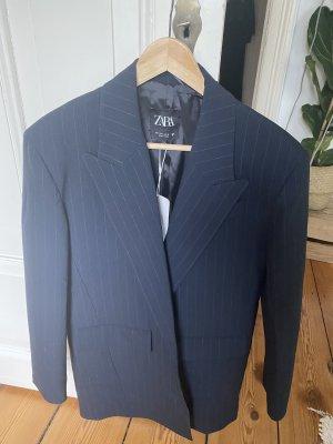 Zara Boyfriend Blazer dark blue-light grey