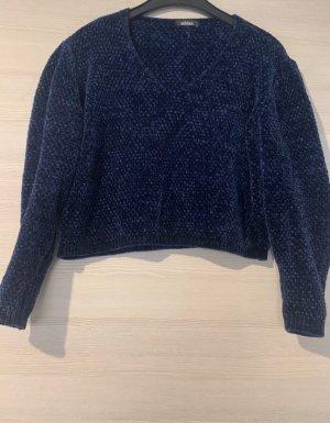 addax Sweter z dekoltem w kształcie litery V ciemnoniebieski
