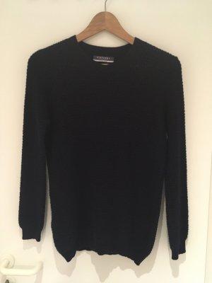 Stefanel Crochet Sweater dark blue cashmere