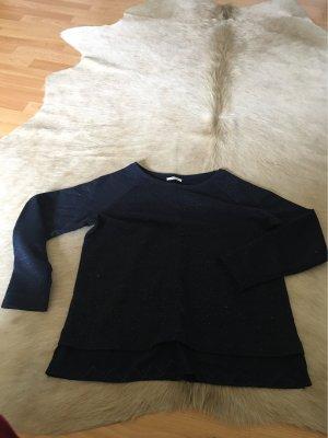 Dunkelblauer Pullover mit Metallik Silber Optik