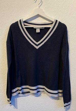 H&M Pull en laine blanc-bleu foncé coton