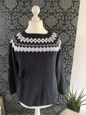 Esmara Jersey estilo Noruego blanco-negro Algodón