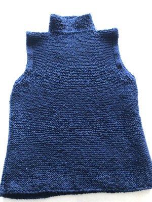 no name Długi sweter bez rękawów ciemnoniebieski Wełna