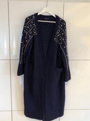 Zara Knit Abrigo de punto azul oscuro-blanco