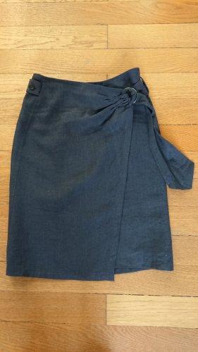 dunkelblauer Wickelrock aus Leinen von Strenesse