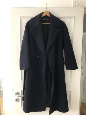 Zara Wollen jas donkerblauw