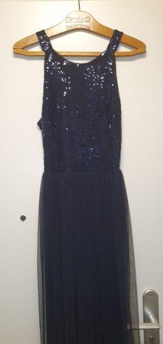 Dunkelblaues Abendkleid mit Pailletten