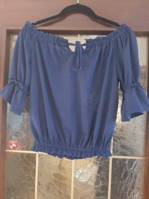 Dunkelblaues Crop Shirt