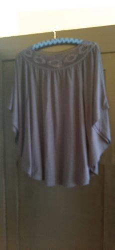 dunkelblaues Fledermausärmel-Shirt mit Spitze