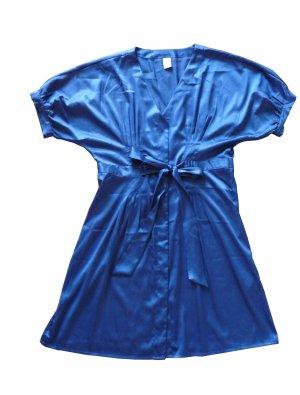 Dunkelblaues, glänzendes Kleid Größe L, V-Ausschnitt, Kurzarm