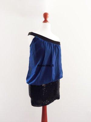 Dunkelblaues Hängerchen Partykleid Minikleid Oneshoulder mit Pailetten enganliegend Babydoll schwarz