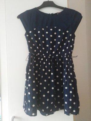 Dunkelblaues Kleid mit Punkten +Gürtel dazu