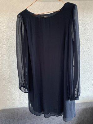 dunkelblaues Kleid mit transparentem Arm, Größe 40