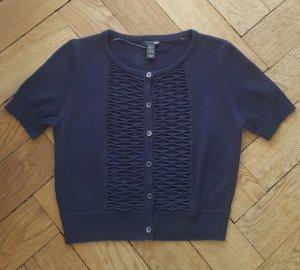 H&M Short Sleeve Knitted Jacket dark blue cotton