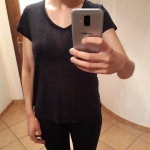 Dunkelblaues Leinen T Shirt