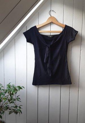 Dunkelblaues Offshoulder T-Shirt von Styleboom