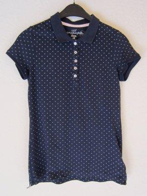 Dunkelblaues Poloshirt mit Pünktchen-Allover-Print