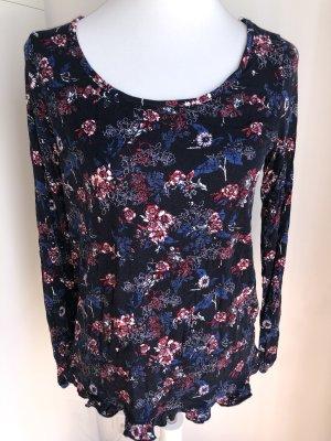 Dunkelblaues Shirt mit Blumen Größe 36