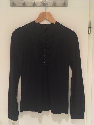 Dunkelblaues Shirt mit Volants von Massimo Dutti in Größe 40 (L)