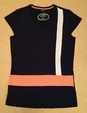 dunkelblaues Shirt mit weiß und koralle farbige Streifen, kurzärmlig, Gr. M