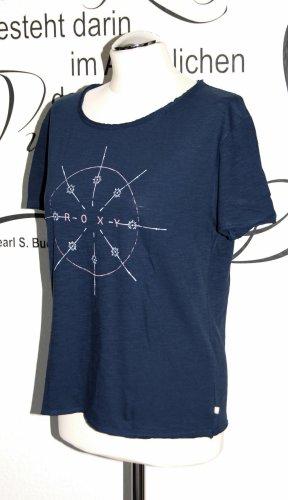 Dunkelblaues Slub-Shirt mit Print (used-Look, 100% Baumwolle) - In sehr gutem Zustand!