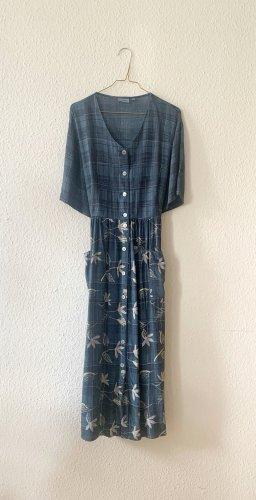 dunkelblaues Sommerkleid mit Taschen aus Viskose