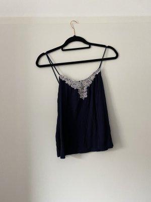 H&M Kanten topje donkerblauw-wit Viscose
