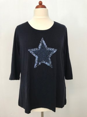 Dunkelblaues Viscose Shirt mit Paillettenmotiv von Canda