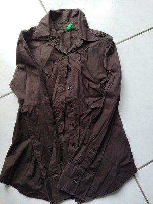 Benetton Blusa-camisa marrón oscuro