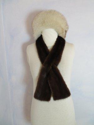 Vintage 55 Cravate ascot brun foncé-brun fourrure