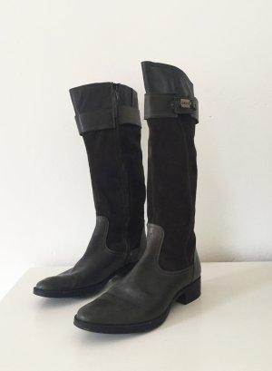 Dunkelbraune / graubraune Stiefel von Geox