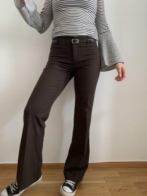 Esprit Pantalón de campana marrón oscuro-negro