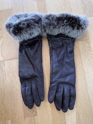 dunkelbraune Lederhandschuhe vintage