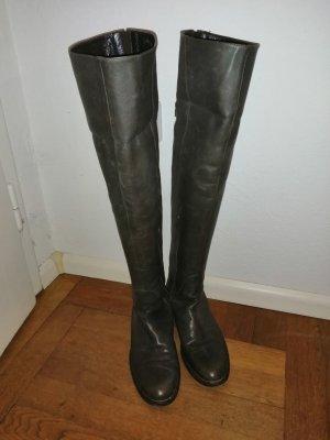Dunkelbraune Overknee Lederstiefel von E'clat, Größe 39