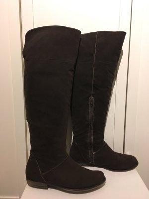 Dunkelbraune Overknee-Stiefel in Velourleder-Optik in Größe 38