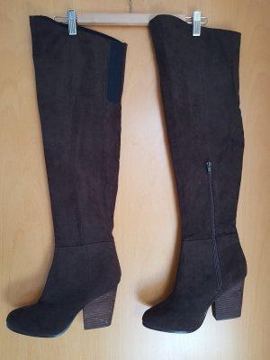 H&M Buty nad kolano ciemnobrązowy