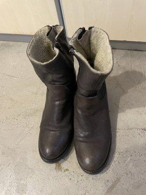 Botki ciemnobrązowy-czarno-brązowy