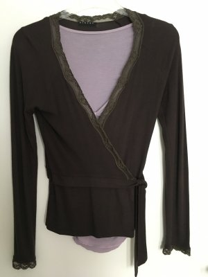 Sisley Knitted Wrap Cardigan dark brown-lilac