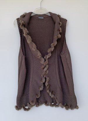 Samoon by Gerry Weber Chaleco de piel marrón tejido mezclado