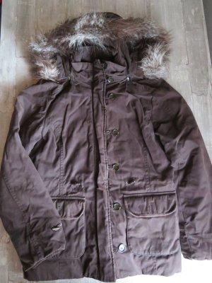 Esprit Kurtka zimowa ciemnobrązowy-brązowy Tkanina z mieszanych włókien