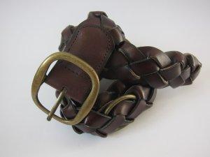 Promod Cinturón trenzado rojo amarronado Cuero